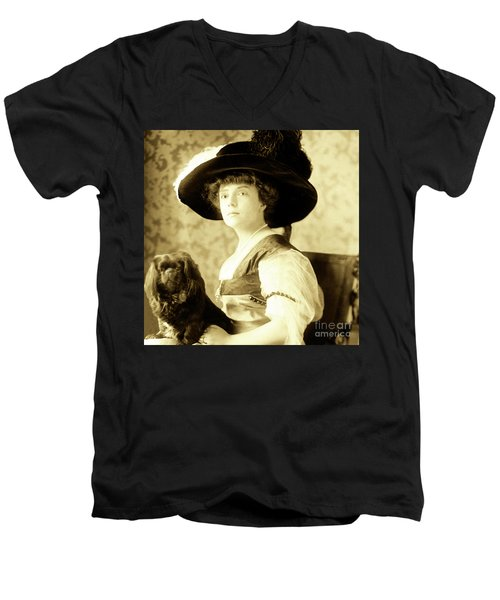 Men's V-Neck T-Shirt featuring the photograph Vintage Lady With Lapdog by Marian Cates