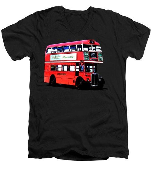 Vintage London Bus Tee Men's V-Neck T-Shirt by Edward Fielding