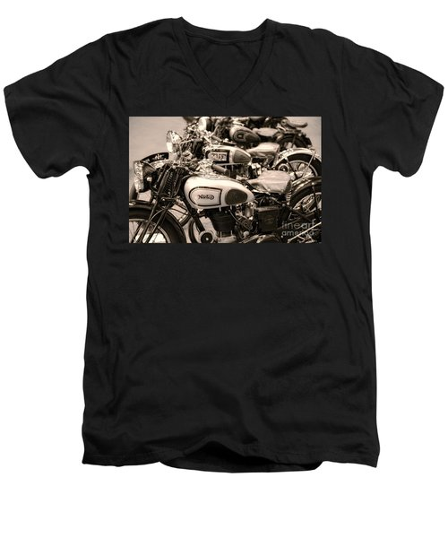Vintage Motorcycles Men's V-Neck T-Shirt by Ari Salmela