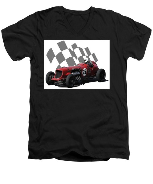 Vintage Racing Car And Flag 3 Men's V-Neck T-Shirt by John Colley