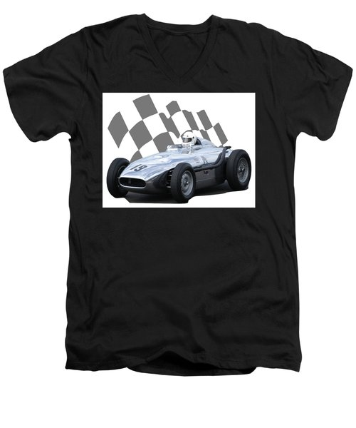 Vintage Racing Car And Flag 7 Men's V-Neck T-Shirt by John Colley