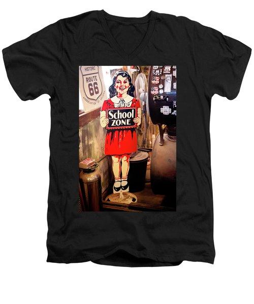 Vintage School Zone Sign Men's V-Neck T-Shirt