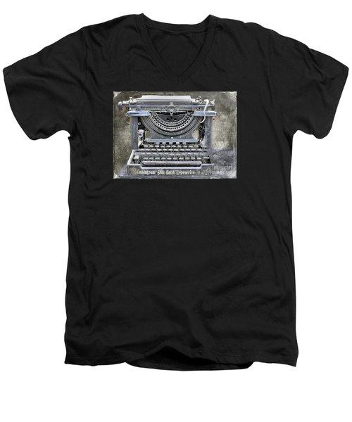 Vintage Typewriter Photo Paint Men's V-Neck T-Shirt by Nina Silver