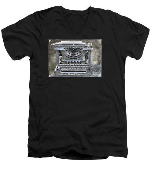 Vintage Typewriter Photo Paint Men's V-Neck T-Shirt