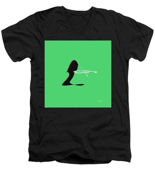 Men's V-Neck T-Shirt featuring the digital art Violin In Green by Jazz DaBri