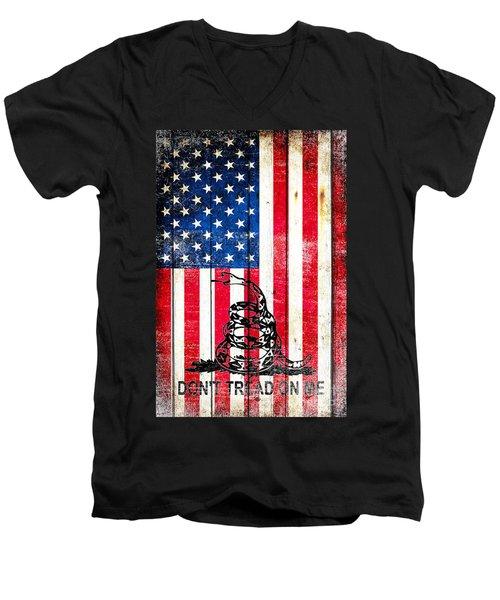 Viper On American Flag On Old Wood Planks Vertical Men's V-Neck T-Shirt by M L C