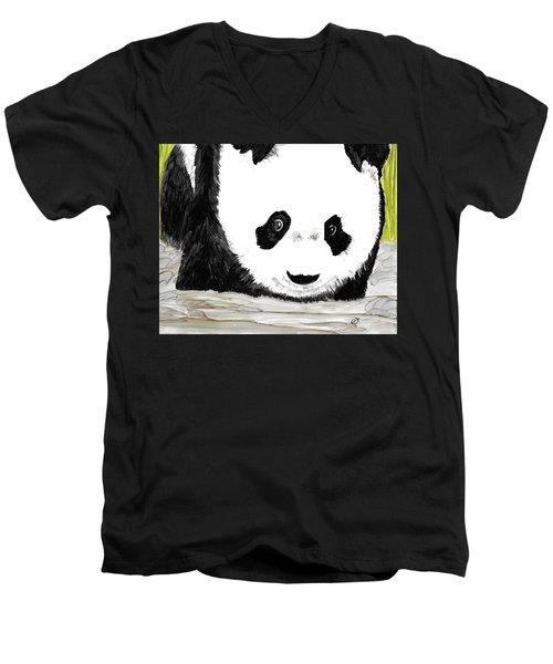Vivi's Pet Panda Men's V-Neck T-Shirt