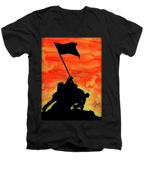 Vj Day Men's V-Neck T-Shirt by P J Lewis