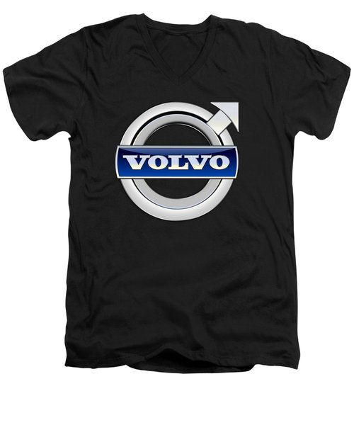 Volvo - 3d Badge On Black Men's V-Neck T-Shirt by Serge Averbukh