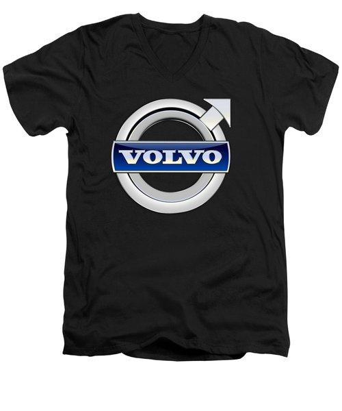 Volvo - 3d Badge On Black Men's V-Neck T-Shirt
