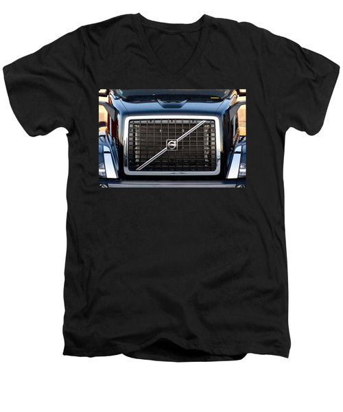 Volvo Blk And Silver Men's V-Neck T-Shirt