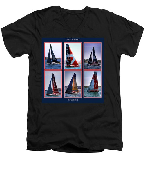 Volvo Ocean Race Newport 2015 Men's V-Neck T-Shirt by Tom Prendergast