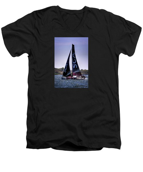 Men's V-Neck T-Shirt featuring the photograph Volvo Ocean Race Team Sca by Tom Prendergast