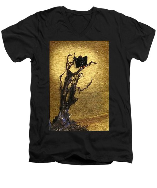 Vulture With Textured Sun Men's V-Neck T-Shirt