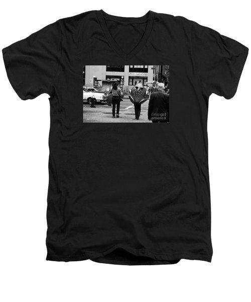W 34th Men's V-Neck T-Shirt by Steven Macanka