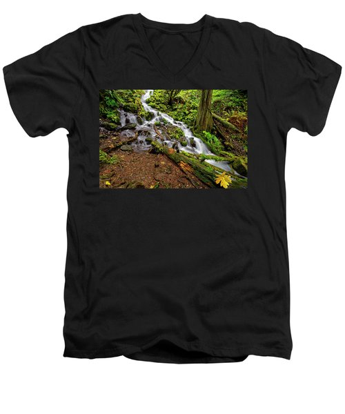Men's V-Neck T-Shirt featuring the photograph Wahkeena Falls by Jonathan Davison
