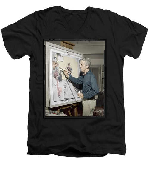 Men's V-Neck T-Shirt featuring the photograph Waiting For The Vet Norman Rockwell by Martin Konopacki Restoration
