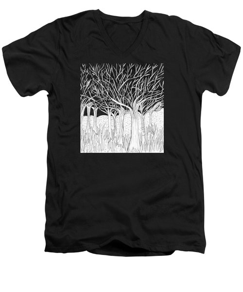 Walking Out Of The Woods Men's V-Neck T-Shirt by Lou Belcher