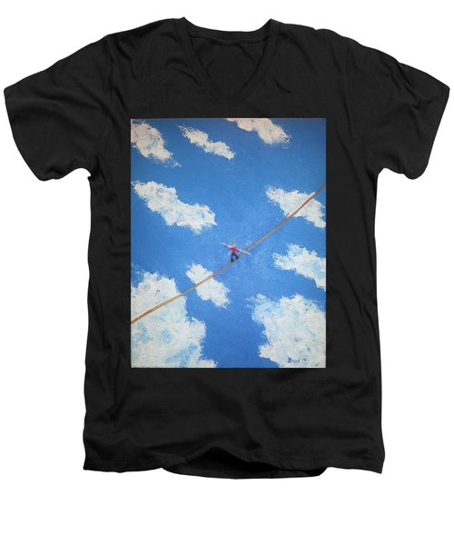 Walking The Line Men's V-Neck T-Shirt by Thomas Blood