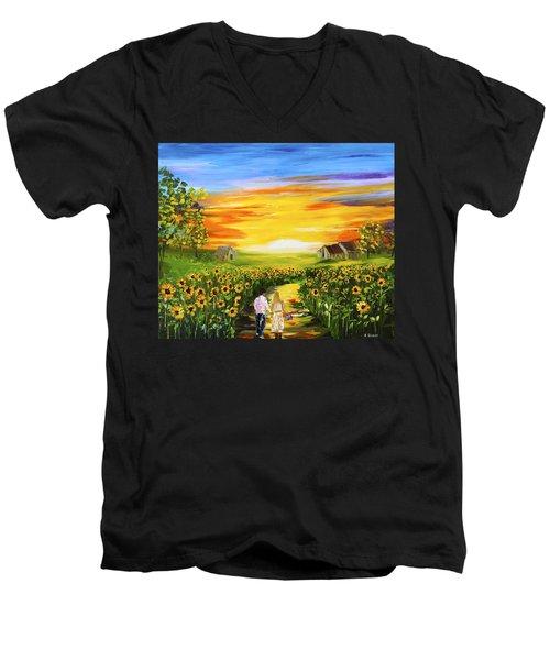 Walking Through The Sunflowers Men's V-Neck T-Shirt