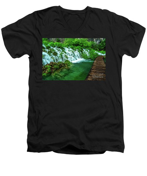 Walking Through Waterfalls - Plitvice Lakes National Park, Croatia Men's V-Neck T-Shirt