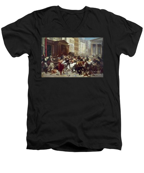 Wall Street: Bears & Bulls Men's V-Neck T-Shirt by Granger