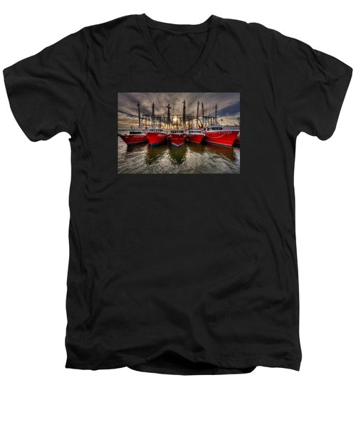 Wanchese Fish Company Men's V-Neck T-Shirt by Jerry Gammon