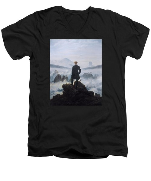 Wanderer Above The Sea Of Fog Men's V-Neck T-Shirt