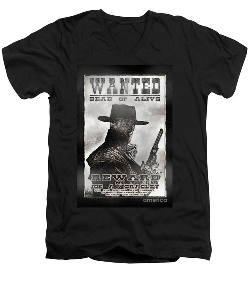 Wanted Poster Notorious Outlaw Men's V-Neck T-Shirt