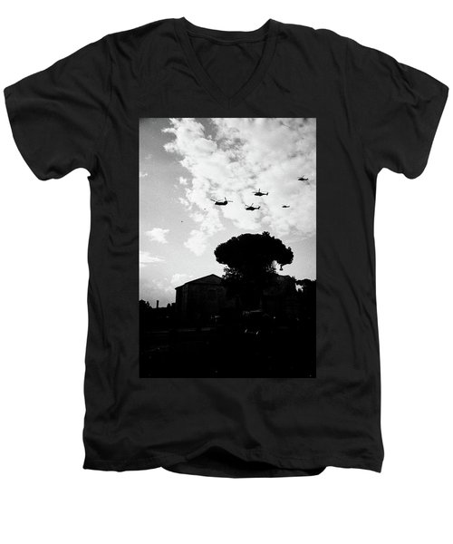 War Helicopters Over The Imperial Fora Men's V-Neck T-Shirt