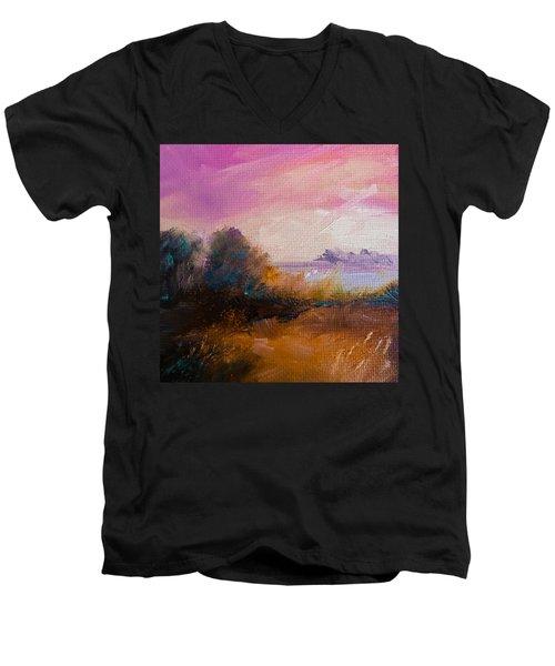 Warm Colorful Landscape Men's V-Neck T-Shirt by Michele Carter