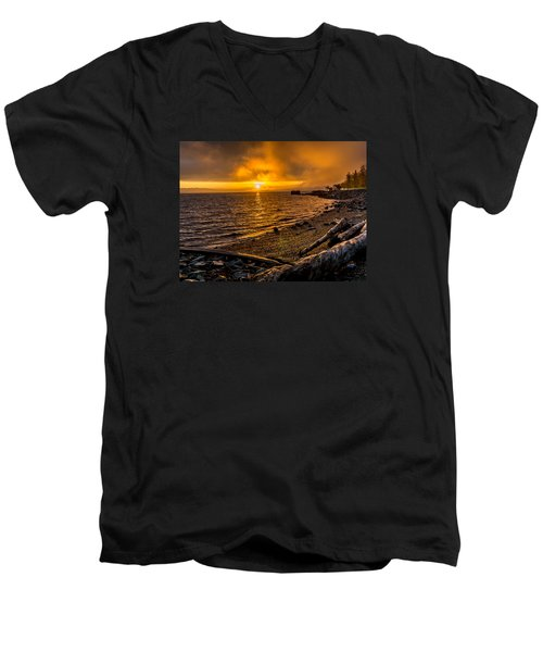 Warming Sunrise Commencement Bay Men's V-Neck T-Shirt by Rob Green