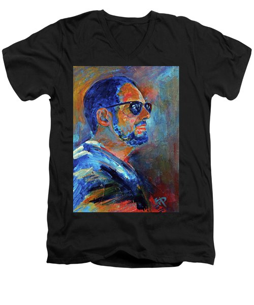 Warren Gazing At The Surf Men's V-Neck T-Shirt by Walter Fahmy