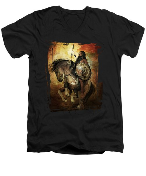 Warrior Men's V-Neck T-Shirt by Shanina Conway