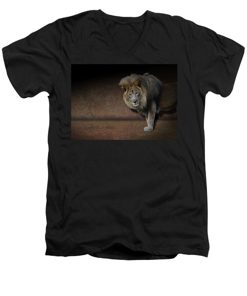 Was That My Cue? - Lion On Stage Men's V-Neck T-Shirt