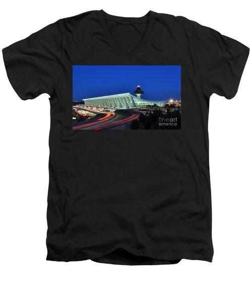 Washington Dulles International Airport At Dusk Men's V-Neck T-Shirt by Paul Fearn