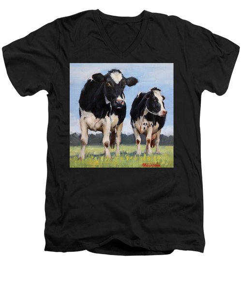 Watchful Cows Mini Painting  Men's V-Neck T-Shirt