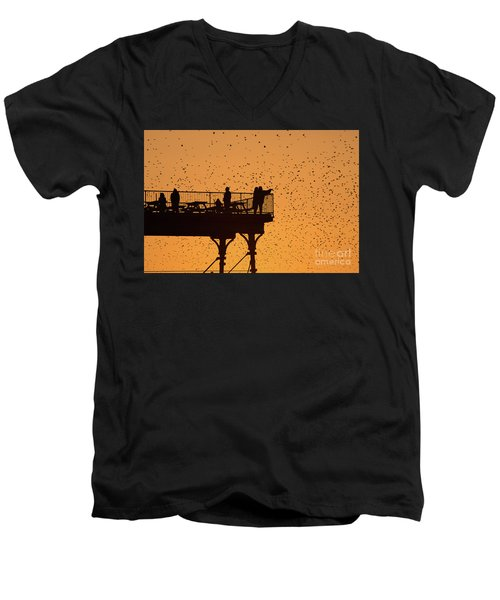 Watching The Sunset And Starlings In Aberystwyth Wales Men's V-Neck T-Shirt