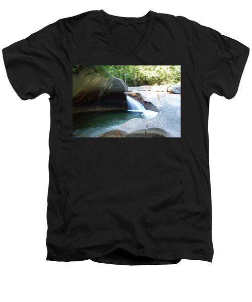 Men's V-Neck T-Shirt featuring the photograph Water-carved Rock by Kerri Mortenson