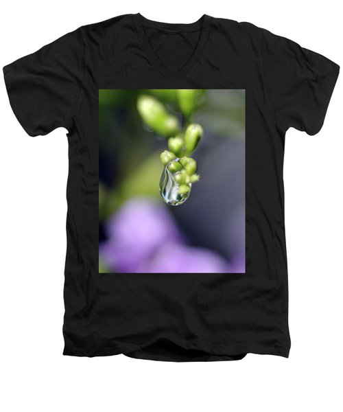 Water Droplet Iv Men's V-Neck T-Shirt by Richard Rizzo