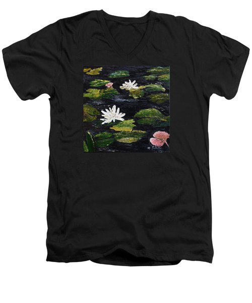 Men's V-Neck T-Shirt featuring the painting Water Lilies IIi by Marilyn Zalatan