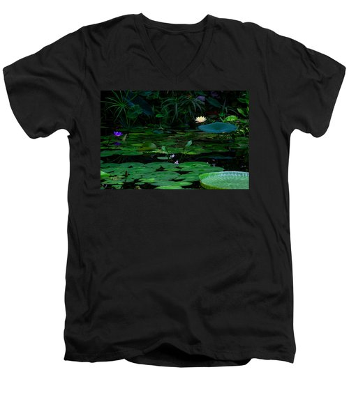 Water Lilies In The Pond Men's V-Neck T-Shirt