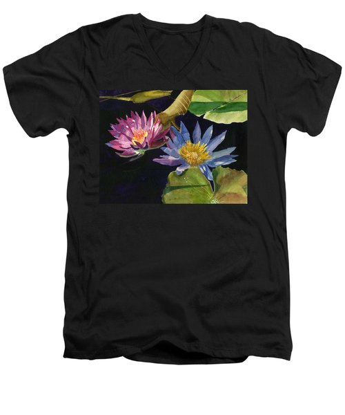 Water Lilies Men's V-Neck T-Shirt by Lynne Reichhart