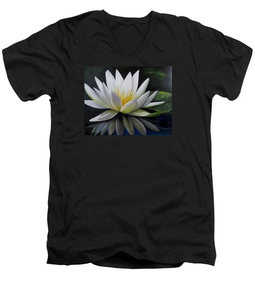 Water Lilly  Men's V-Neck T-Shirt by Katia Aho