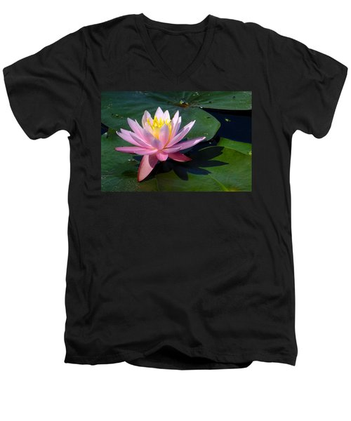 Water Lily In Mountain Lake Men's V-Neck T-Shirt