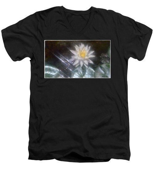 Water Lily In Sunlight Men's V-Neck T-Shirt by Jeff Kolker