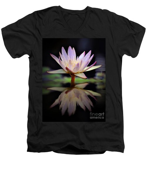 Men's V-Neck T-Shirt featuring the photograph Water Lily by Savannah Gibbs
