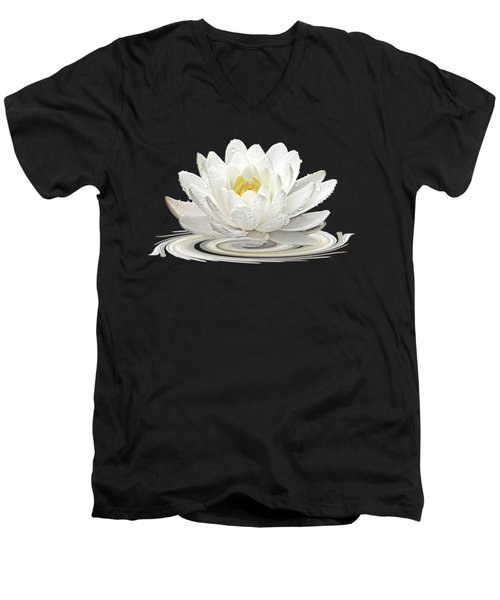 Water Lily Whirl Men's V-Neck T-Shirt by Gill Billington