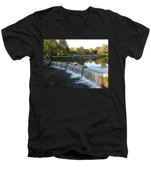 Men's V-Neck T-Shirt featuring the photograph Water Over The Dam by Joel Deutsch