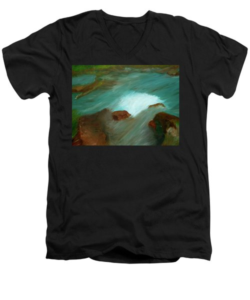 Water Over The Rocks Men's V-Neck T-Shirt